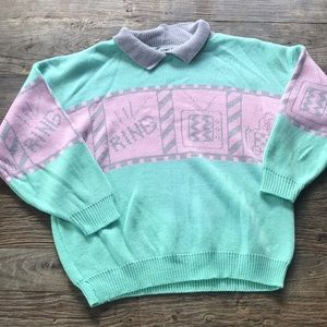 Vintage 1980's Mint Pink And Gray Sweater Large